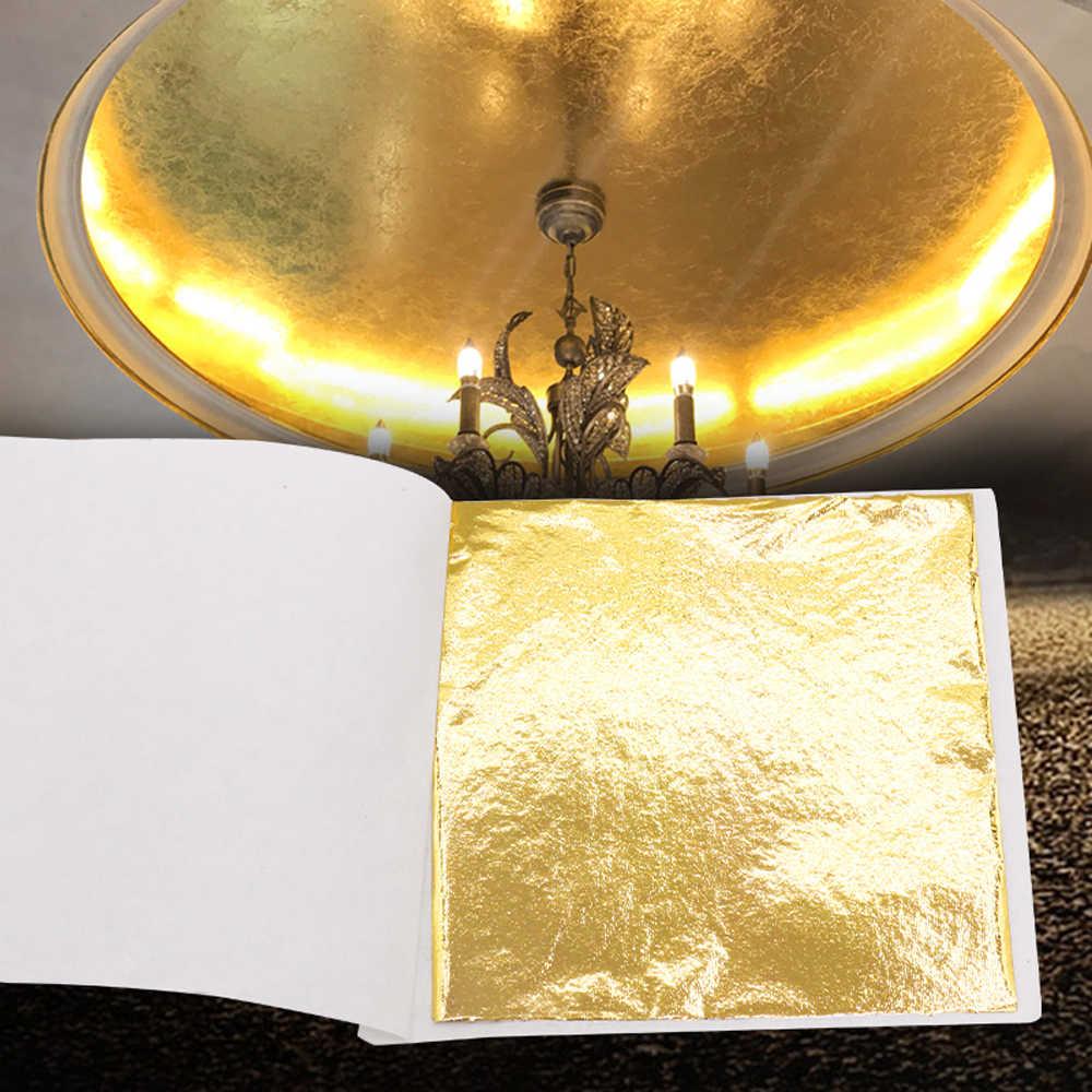 Имитация листового золота, золоченые хлопья, блестящая бумага 100 шт, для украшения дома, настенная мебель, статуя ремесла для ногтей 8x8.5cm