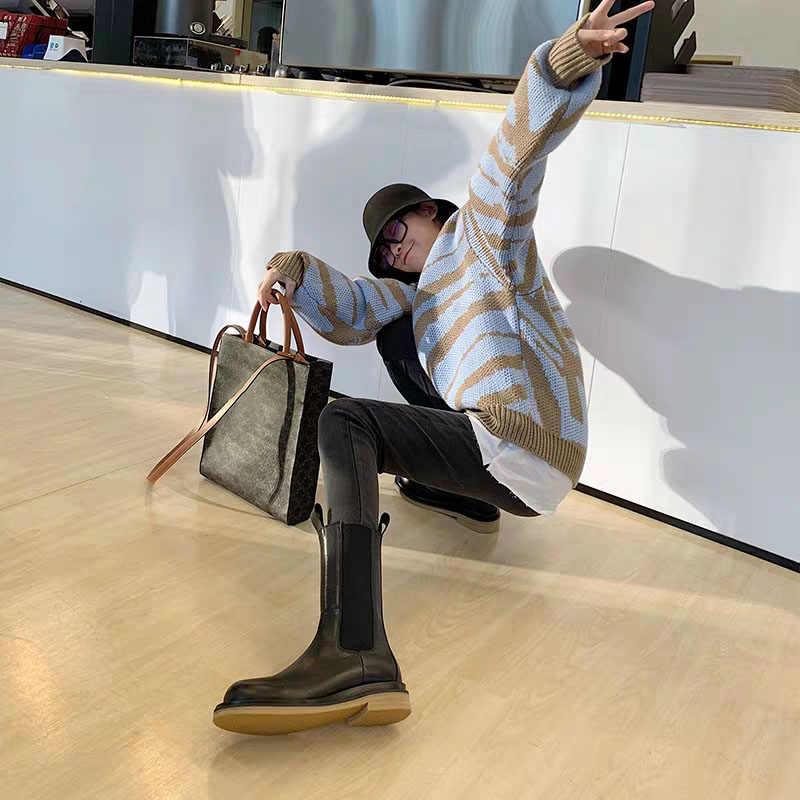 2019 חדש סגנון שחור אמיתי עור צ 'לסי מגפי אישה בוהן עגול להחליק על קרסול מגפי אישה מסלול אביר מגפיים אישה