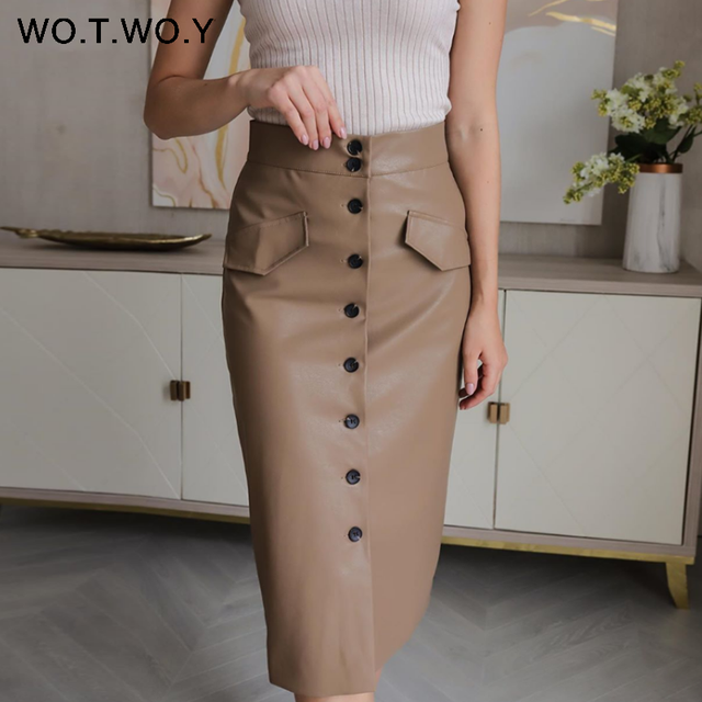 WOTWOY Elengant High Waist Leather Penci Skirt Women Multi Button Wrapped Skirts Mujer Faldas Solid Pockets Femme Jupes New 2020 1
