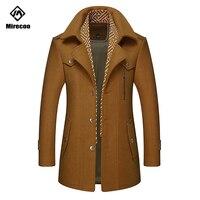 Winter Overcoat Men Detachable Scarf Solid Color Thick Woolen Long Jacket Men Men's Business Warm Wool Winter Coat 2019 Clothing