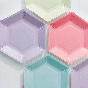 Image 2 - 60pcs Pastel Lilac Hexagon Party Paper Plates Baby Shower Birthday Wedding Party Supplies Disposable Tableware 6 Colors