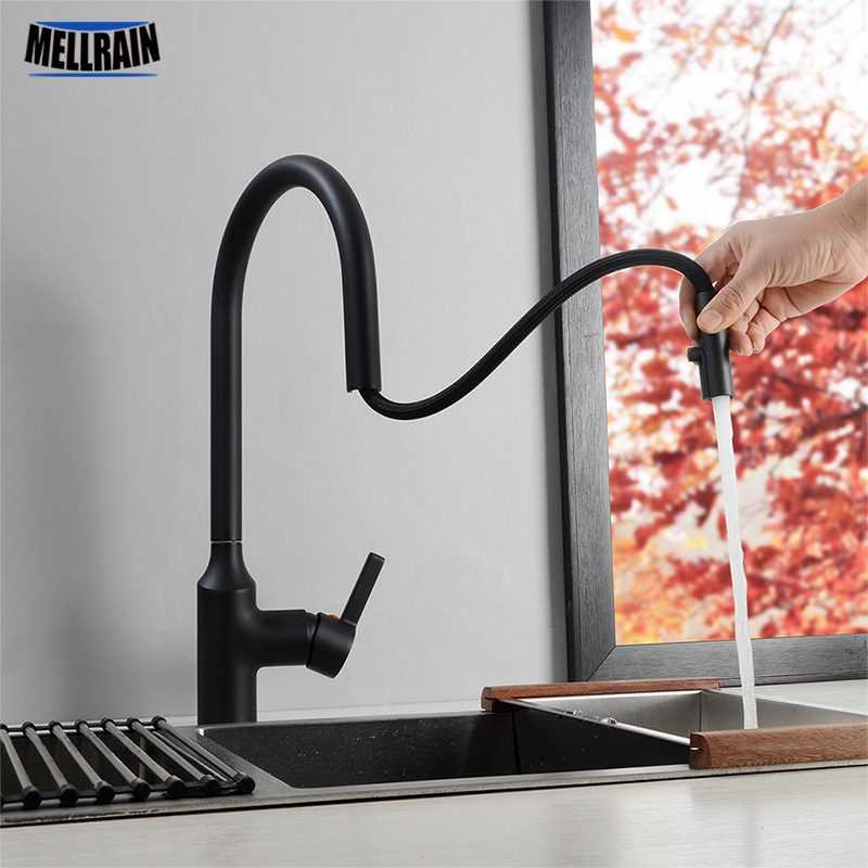 Hidden Aerator Pull Out Kitchen Faucet Matte Black & Chrome Kitchen Sink Water Mixer Tap Single Hole Basin Brass Faucet