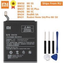 XiaoMi Original Batterie BM36 für Mi 5S MI5S BM22 Für MI5 Mi 5 BM37 Für Mi 5S Plus BN20 Für Mi 5C BN34 BN31 Für Redmi 5A Hinweis 5A