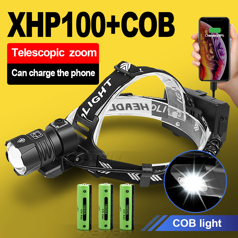 500000 LM XHP100 Powerful Led Headlamp 18650 XHP90 2 Led Headlight Rechargeable USB Head Flashlight XHP70 Zoom Head Torch Light