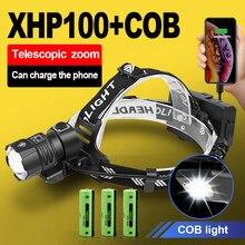 500000 lm xhp100 poderoso farol led 18650 xhp90.2 farol led recarregável cabeça usb lanterna xhp70 zoom cabeça da tocha luz