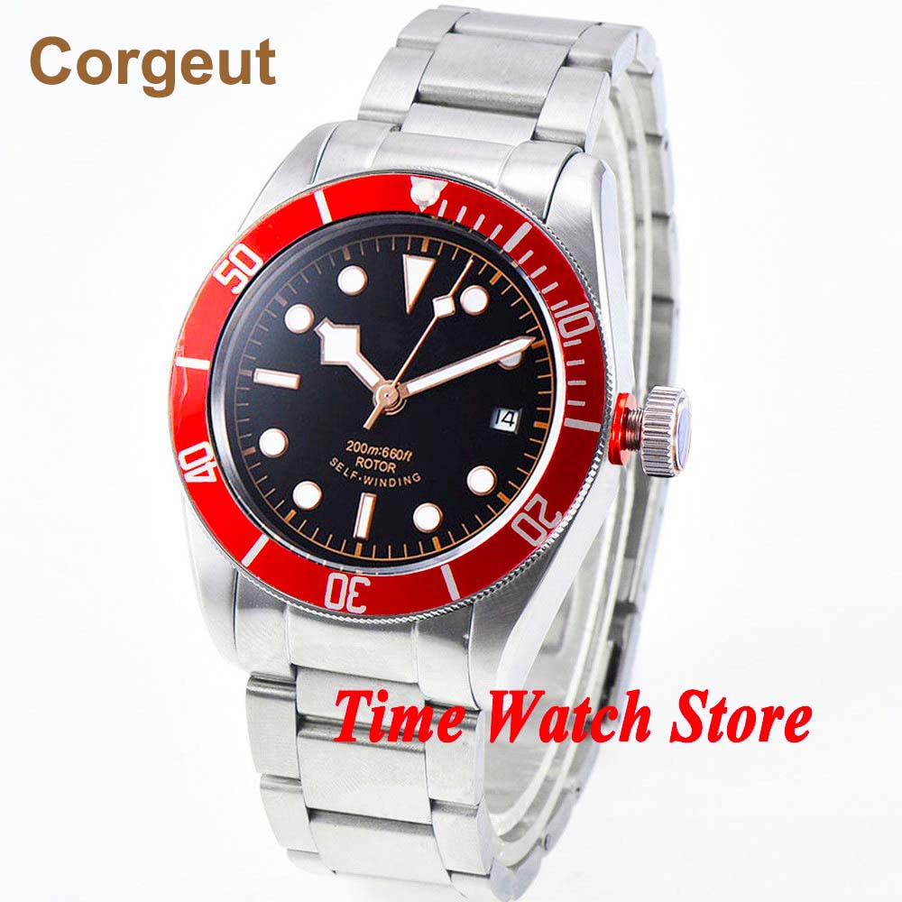 41mm Corgeut Miyota 8215 Automatic men's watch sapphire glass Luminous black sterile dial red Bezel SS bracelet
