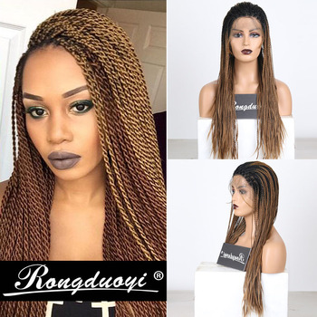 RONGDUOYI Ombre Brown Synthetic Lace Front Wig Long 2X Twist Braids Wigs for Women Two Tone Ash Blonde Cosplay Wig Free Part should length dark root ash blonde lace front wig synthetic