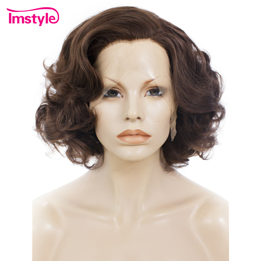 Imstyle Short Wig Brown Synthetic Lace Front Wig Natural Wavy Hair Heat Resistant Fiber 10 Inch Daily Cosplay Wig For Women