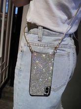 럭셔리 반짝이 반짝 이는 다이아몬드 Crossbody 커버 케이스 아이폰 12 11 프로 XS 맥스 XR 8 플러스 삼성 S10 플러스 긴 스트랩 체인