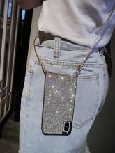 Luxury Glitter Sparkly Diamond Crossbody Cover Case For iPhone 12 11 PRO XS MAX XR 8 plus Samsung S10 plus with long strap Chain