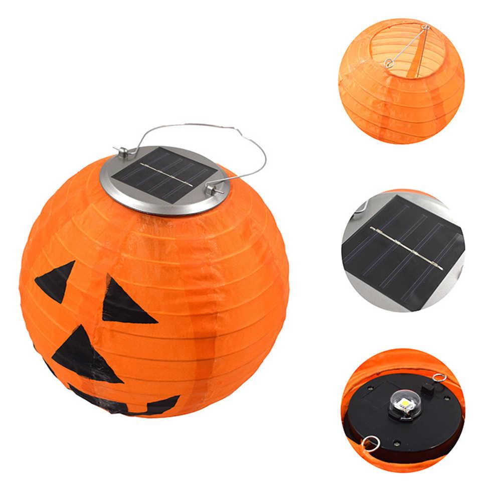 Светодиодный светильник домашний портативный с ручкой Хэллоуин на солнечных батареях ручной водонепроницаемый фонарь-тыква садовый энергосберегающий подвесной
