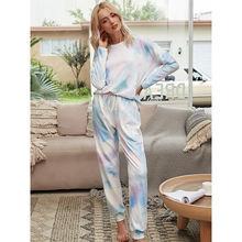 Повседневная Женская одежда для сна градиент цветная Пижама