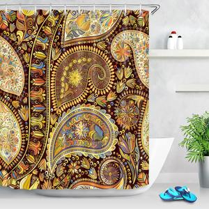 Image 4 - ההודי מנדלה פרחוני מקלחת וילונות פרח פריחת פייזלי בוהמי אמבטיה וילון עמיד למים בד עבור אמנות אמבטיה דקור