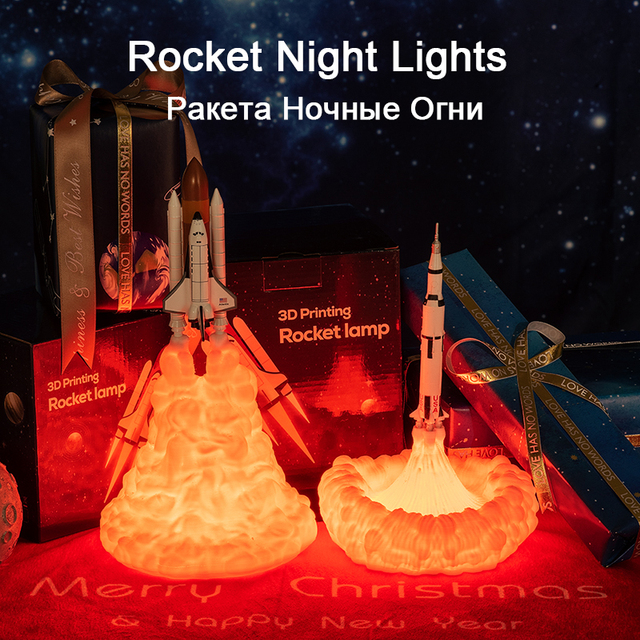 2019 New Dropshipping Space Shuttle Lamp and Moon lamps In Night Light By 3D Print For Space Lovers Rocket Lamp 3