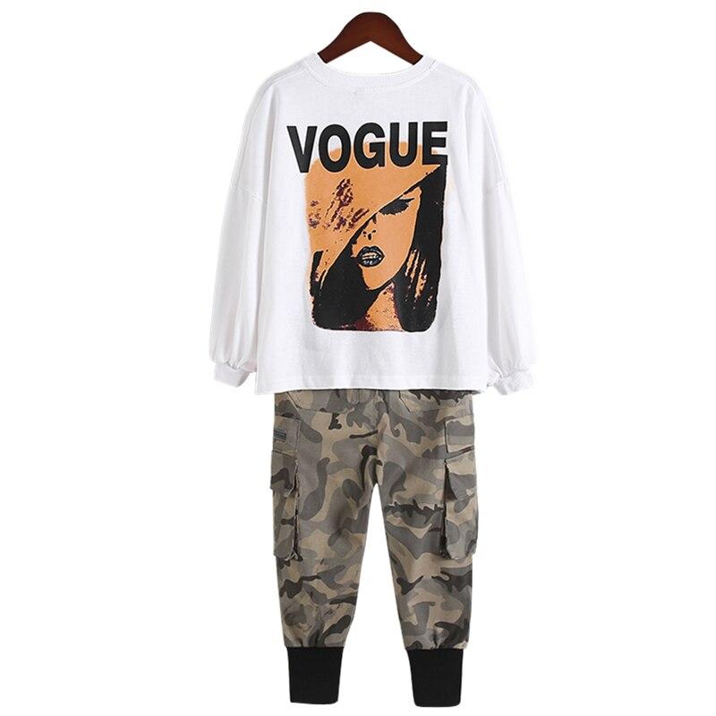 Комплекты детской одежды футболка с длинными рукавами + камуфляжные штаны весенне-осенняя одежда для девочек толстовки для активных детей