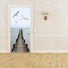 3D наклейки на двери креативный ПВХ Водонепроницаемый водной пейзаж ремонт дверей Фреска самоклеящееся изображение на холсте Печать Декоративные наклейки для дома