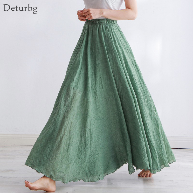 High Quality Cotton Linen Maxi Skirt Womens Casual Elastic High Waist Pleated A-Line Beach Skirts Boho Saia Feminina Faldas Jupe