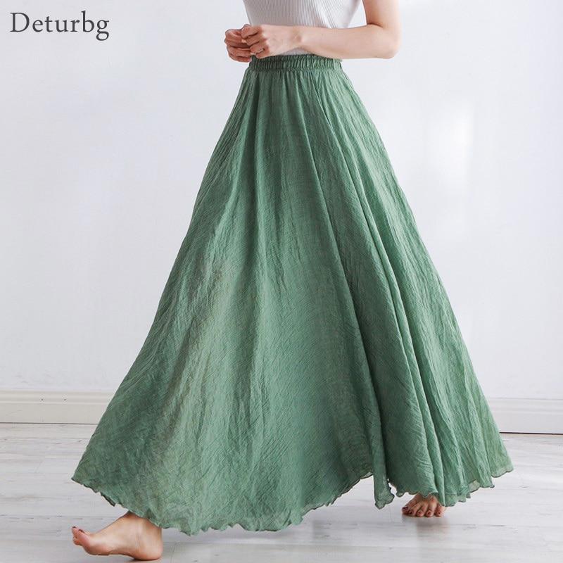 High Quality Cotton Linen Maxi Skirt Womens Casual Elastic High Waist Pleated A-Line Beach Skirts Boho Saia Feminina Faldas Jupe