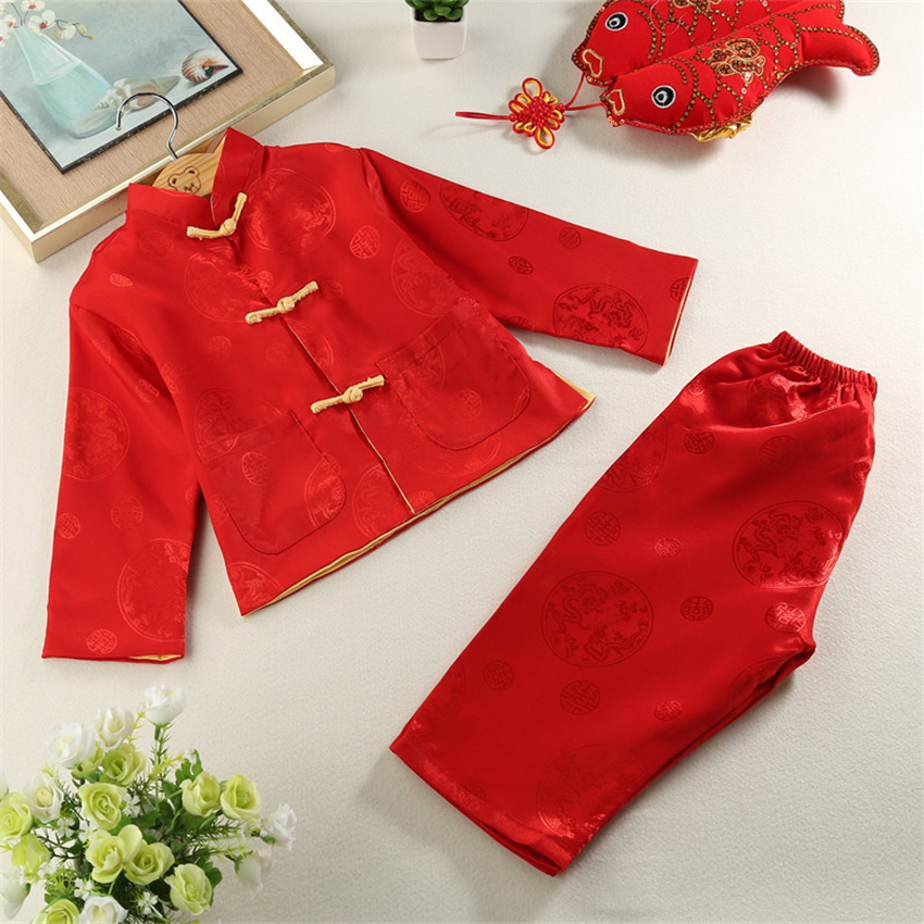 80-160cm Traditional Chinese Tang Suit For Kids 2pieces Print Long Sleeve New Year Costumes Kung Fu Reversible Clothing Set