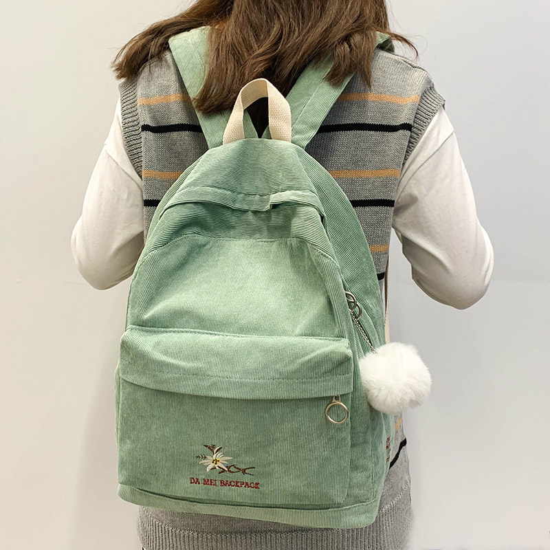 Stripe Female Corduroy Backpack Kawaii Women School Bag Embroidery Teenage Girl Cute Backpack Harajuku Fashion Bags Student Lady