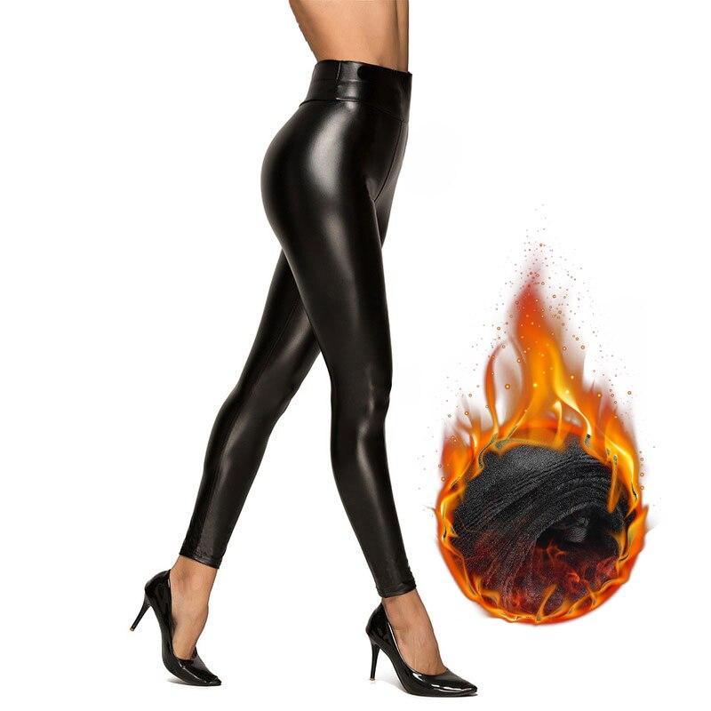 Mallas con forro polar para mujer, pantalones femeninos, mallas con cintura alta, de Pu, de talla grande, de piel sintética