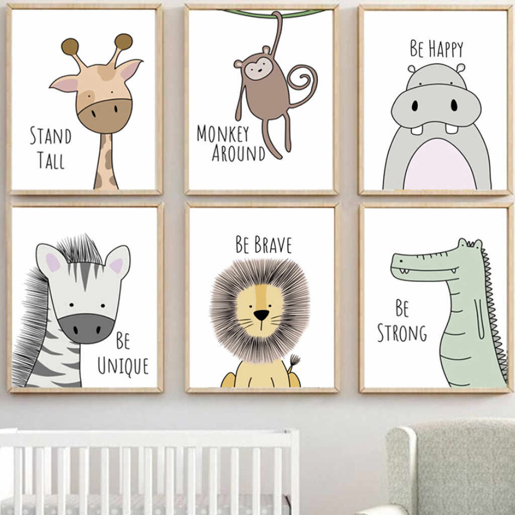 Cartoon Animal Canvas Children's Room Frameless Painting Core Cloth lovely Baby Animals Poster Kid Bedroom Decoration Picture