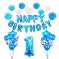 Синий ребенок 1-й День рождения мальчик вечевечерние НКА Foli 32 дюйма цифры воздушный шар 12 месяцы фоторамка Баннер 1 год День рождения украшен...
