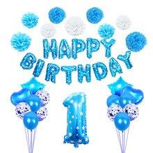 Ballons Foli pour fête de bébé bleu pour 1er anniversaire, pour garçon, 32 pouces, cadre Photo pour 12 mois, décorations pour 1er anniversaire
