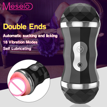 Meselo Male Masturbator Blowjob & Realistic Vagina Double Channel Oral Sex Toys For Men Masturbating Adult Product Penis Trainer