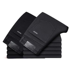 Image 4 - Pantalones vaqueros clásicos para Hombre, ropa masculina de tela vaquera, suave, de motorista, color negro
