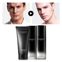 INSWEST 120ml*3Pcs Men Brightening Skin Care Set Cleanser & Toner & Lotion Moisturizing Anti Aging Smooth Daily Facial Care