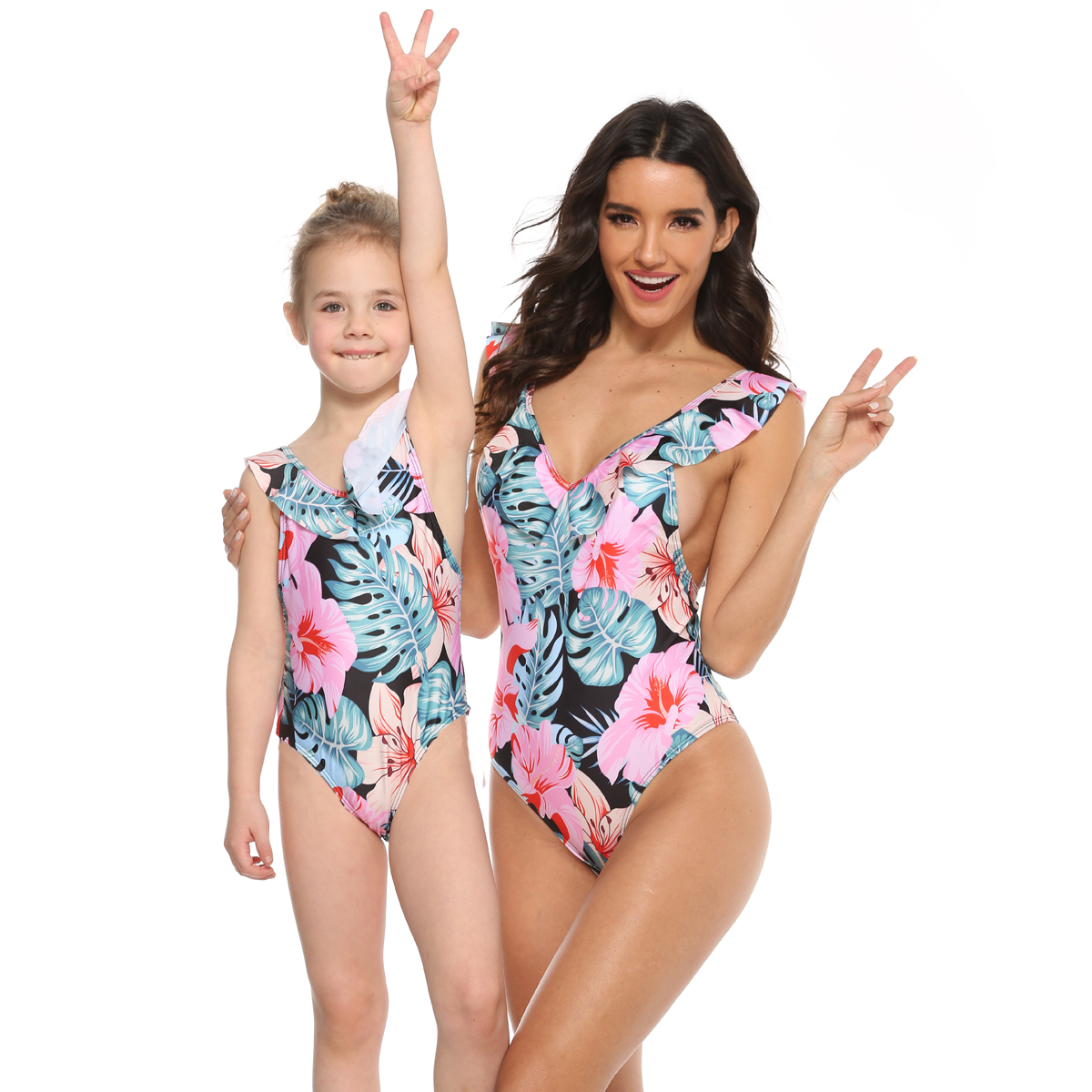 Flower Swimsuit Mother Daughter Swimwear V-neck Mommy and Me Bath Suits Family Matching Clothes Look Women Girls Bikini Dresses