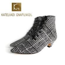 KATELVADI Womens Ankle Boots Lattice Flock 3CM Medium Heel Lace Up With Short Plush Lining Warm Winter  K-495
