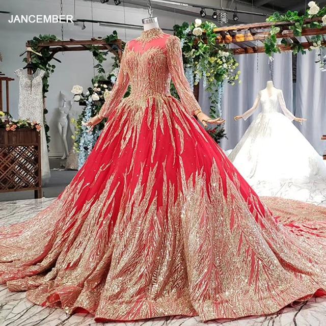 HTL795 hồi giáo váy cưới với cô dâu vân Chiếu Trúc Hạt hoa văn cao cổ tay dài ren vàng áo cưới đỏ Đầm Vestido novia