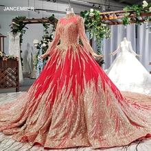 HTL795 müslüman düğün elbisesi ile gelin peçe boncuk desen yüksek boyun uzun kollu altın dantel gelinlik kırmızı vestido novia