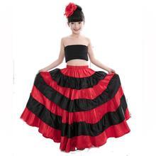 цена Children Spanish Flamenco Skirt  Spanish Dance Costumes for Women Vestido Flamenco Skirt Belly Dance Skirt 540 Degree