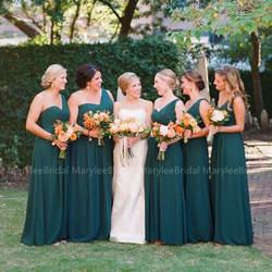 Зеленое Длинное платье подружки невесты с одним плечом, плиссированный шифоновый летний Свадебный Гость, платье подружки невесты для