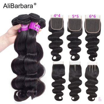 Human Hair Bundles With Closure 5x5 6x6 Lace Closure with Bundles 8-28inch AliBarbara Remy Hair extensions Peruvian Body Wave image