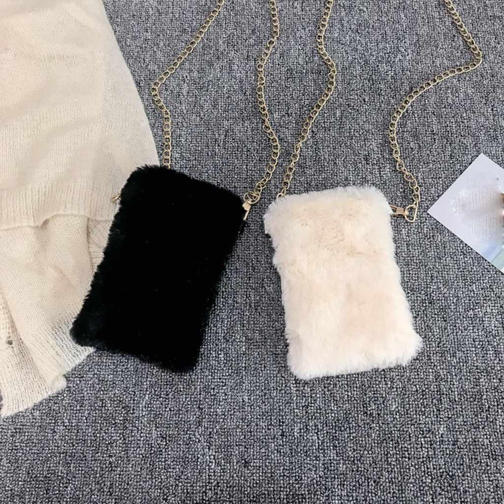 Bulu Imitasi Tas Selempang untuk Wanita Musim Gugur Musim Dingin Plush Dompet dan Wanita Bahu Tas Dompet #25