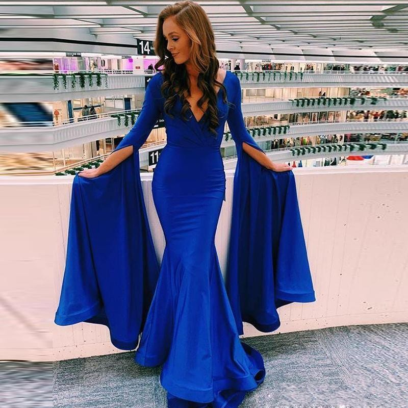 Royal Blue Full Sleeves   prom     Dresses   With Deep V Neck Satin Mermaid Evening   Dress   Floor Length Simple Cheap Party Vestidos
