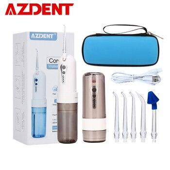 AZDENT беспроводной Оральный ирригатор портативный водный стоматологический плавающий чехол для путешествий перезаряжаемый аккумулятор 4 ре...