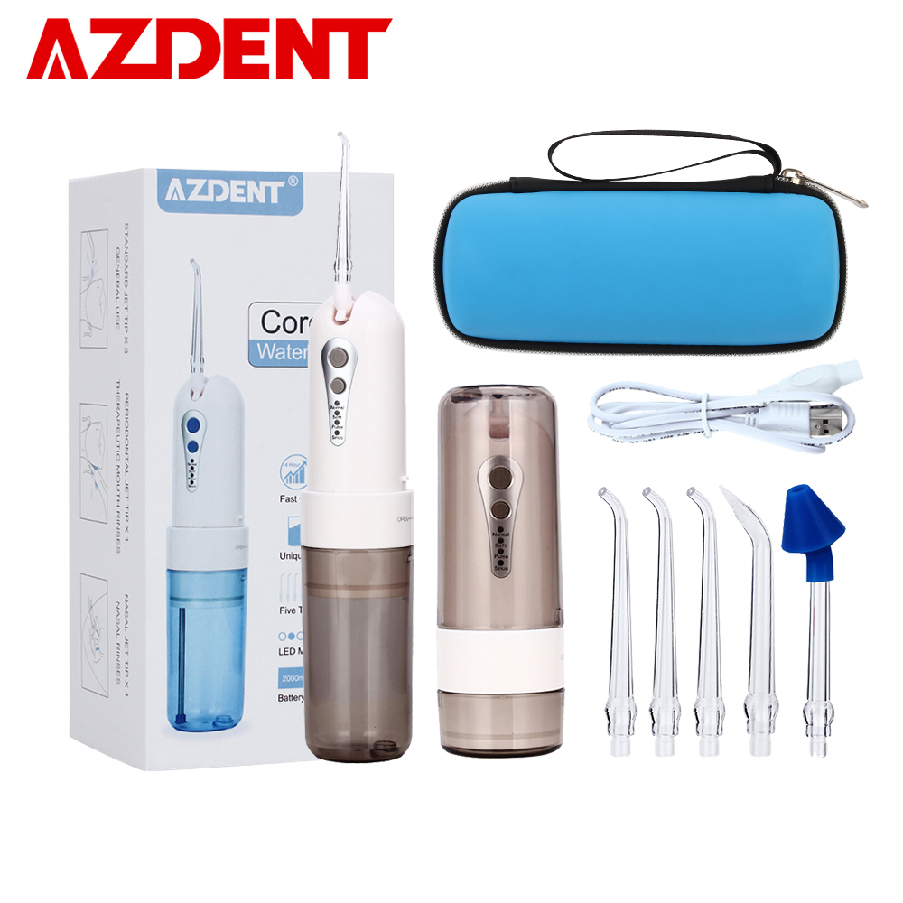 AZDENT Cordless Oral Irrigator Portable Water Dental Flosser With Travel Case Rechargeable Battery 4 Modes Nose Clean 5 Jet Tips