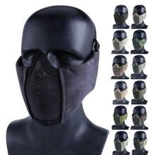 Mesh-Mask Warrior-Mask Airsoft Shooting Half-Face Tactical with Ear-Protection Cs-Game