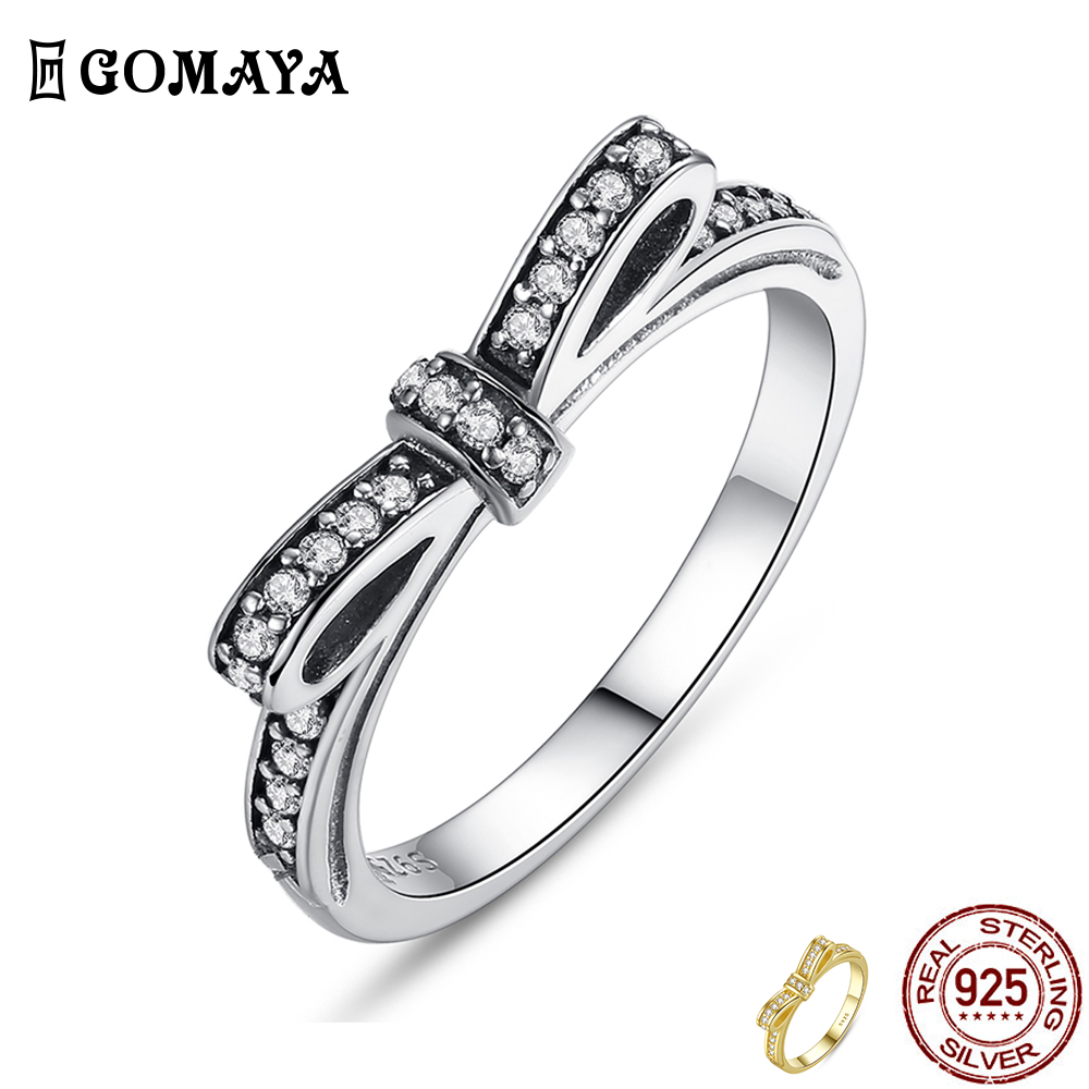 GOMAYA 925 Sterling Silver Ring Sparkling Bow Knot Stackable Rings Cubic Zirconia for Women Valentine's Day Gift Fine Jewelry