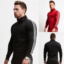 ยี่ห้อใหม่ซิปผู้ชายชุดแฟชั่นฤดูใบไม้ร่วงฤดูหนาวแจ็คเก็ตชุดกีฬา Hoodies + กางเกงขายาว 2 ชิ้นชุดบางเสื้อผ้า