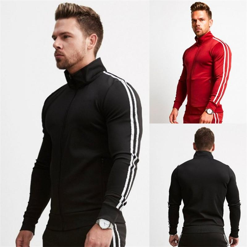 Brand New Zipper Men Sets Fashion Autumn winter Jacket Sporting Suit Hoodies+Sweatpants 2 Pieces Sets Slim Tracksuit clothing-in Men's Sets from Men's Clothing