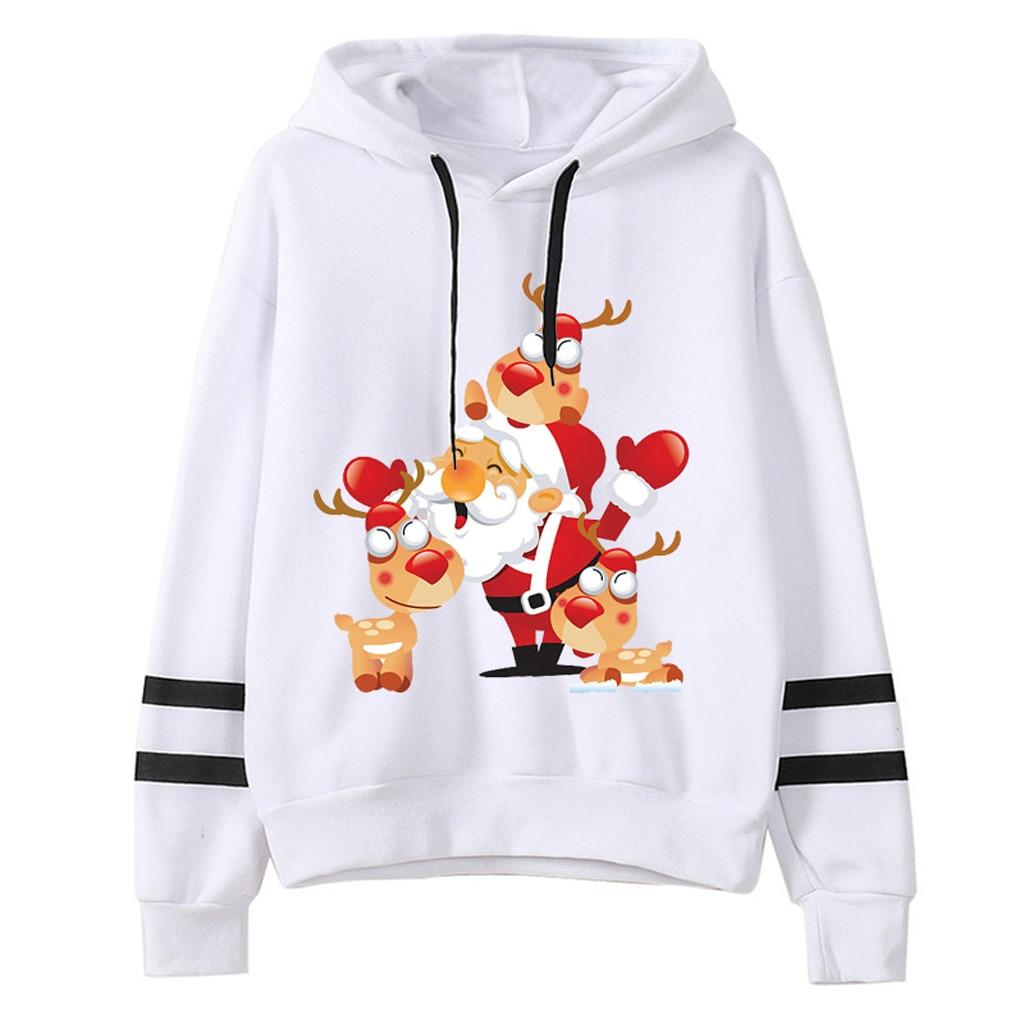 2020 Womail Sweatshirts Women's Christmas Harajuku Hooded autumn winter Loose Printed Pullover sudadera Mujer Womens Sweatshirt
