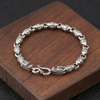 Genuine 925 Sterling Silver Jewelry Personality Six Word Mantra Barrel Beads Silver Men Bracelet Retro Silver Jewelry