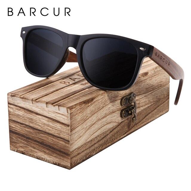 BARCUR الجوز الأسود النظارات الشمسية الخشب الاستقطاب النظارات الشمسية الرجال نظارات الرجال UV400 حماية نظارات خشبية الأصلي مربع