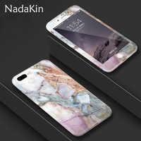 360 degrés corps complet protéger plastique luxe fleur marbre pierre peint dur étui pour iphone X XS MAX XR 6 6S 7 8 Plus 5 5S SE